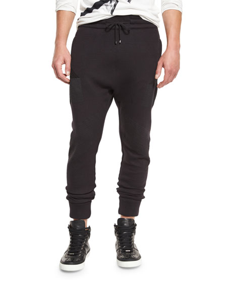 Helmut Lang Channel-Stitch Jogger Pants, Black