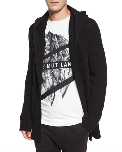 Ribbed Hooded Cardigan, Black