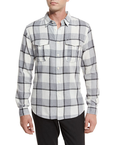 Billy Reid Plaid Flannel Woven Shirt, Gray Pattern