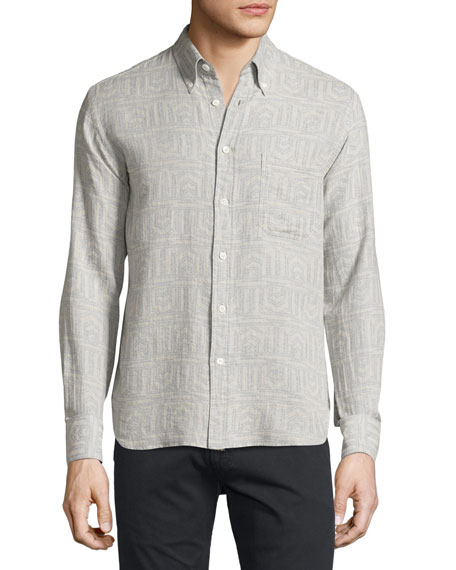 Billy Reid Stitch-Pattern Button-Front Shirt