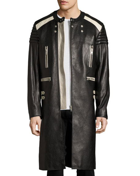 Maison Margiela Colorblock Leather Long Biker Coat