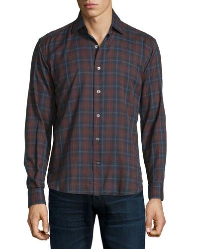 Plaid Long-Sleeve Sport Shirt, Navy/Burgundy/Light Blue