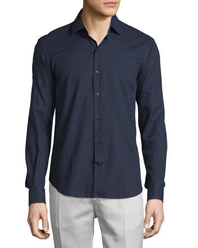 Multicolor-Dots Long-Sleeve Sport Shirt, Navy