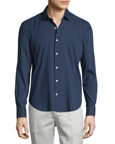 Multicolor-Squares Long-Sleeve Sport Shirt, Navy