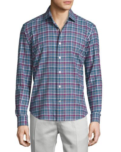 Plaid Long-Sleeve Sport Shirt, Multi