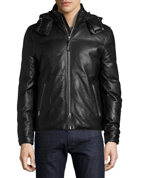 Balfour Leather Down Bomber Jacket, Black