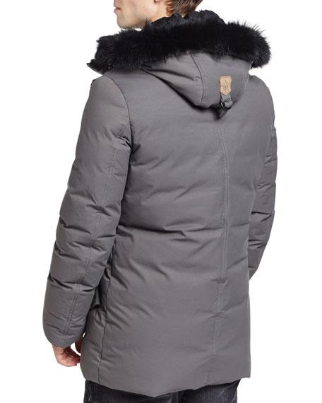 Mackage Edward-BC Lux Down Jacket w/Fur-Lined Hood, Slate