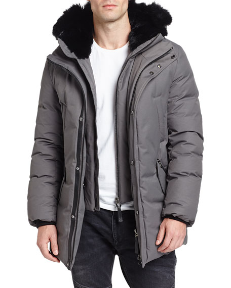 Mackage Edward-BC Lux Down Jacket w/Fur-Lined Hood, Slate