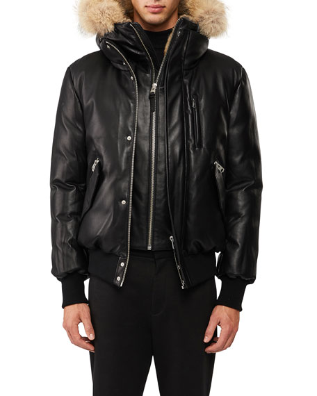 Mackage Leather Down Bomber Jacket w/Coyote & Rabbit