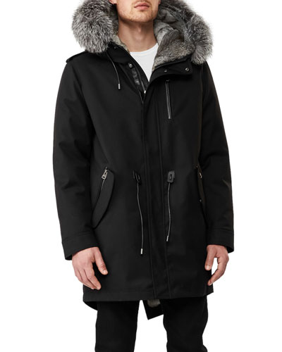 Mortiz-X Parka w/Fox & Rabbit Fur Trim, Black