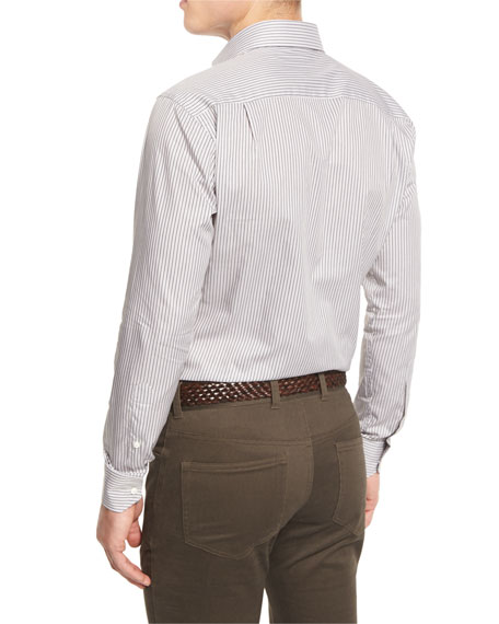 Casolare Striped Long-Sleeve Sport Shirt, Dolomite Gray