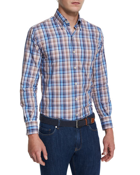 Peter Millar Farmington Plaid Long-Sleeve Sport Shirt