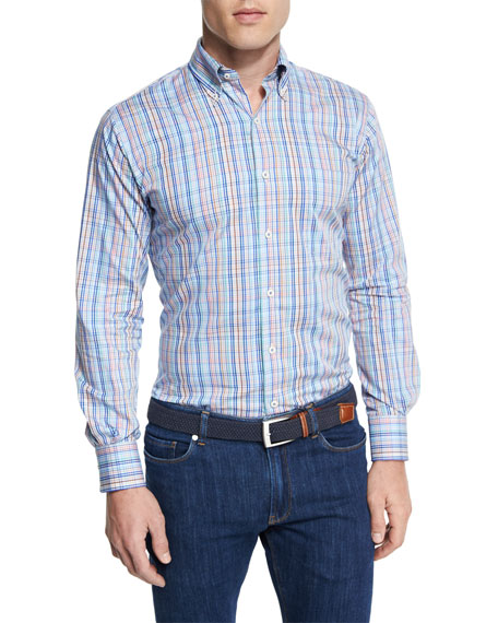 Crown Pin-Plaid Long-Sleeve Sport Shirt