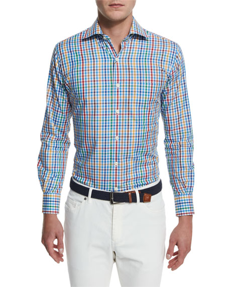 Peter Millar National Pinwheel Plaid Long-Sleeve Sport Shirt