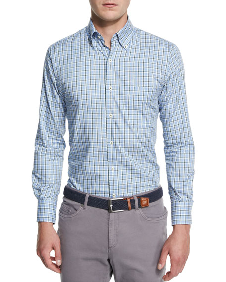 Peter Millar Rugby Melange Plaid Long-Sleeve Sport Shirt
