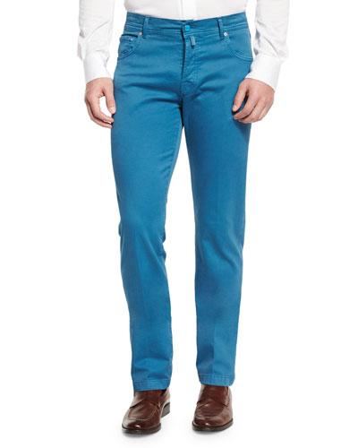 Twill Five-Pocket Pants, Aqua