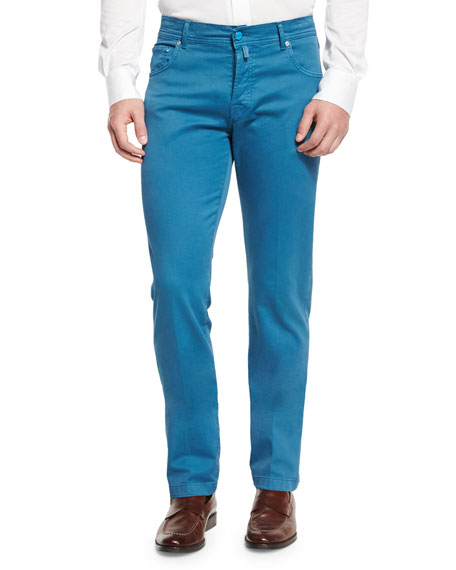 Kiton Twill Five-Pocket Pants, Aqua