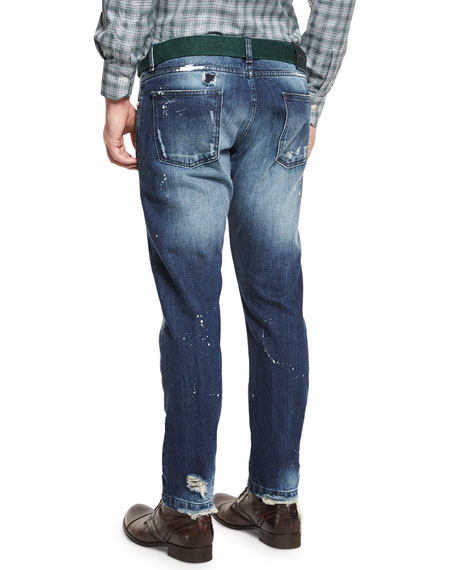 Distressed Straight-Leg Jeans, Blue