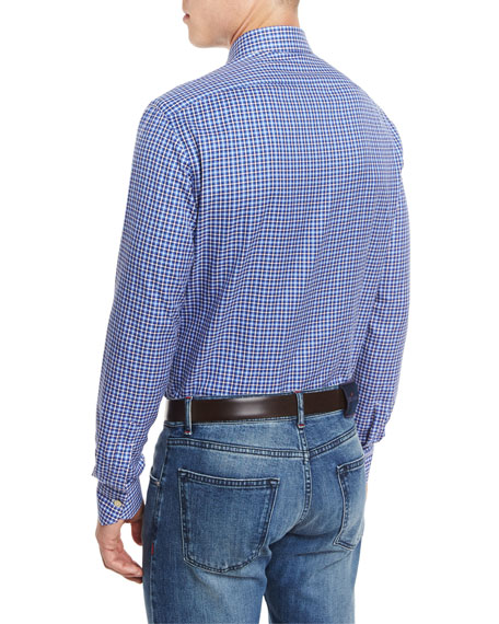 Small-Check Woven Dress Shirt, Blue