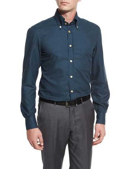 Kiton Houndstooth Sport Shirt, Green