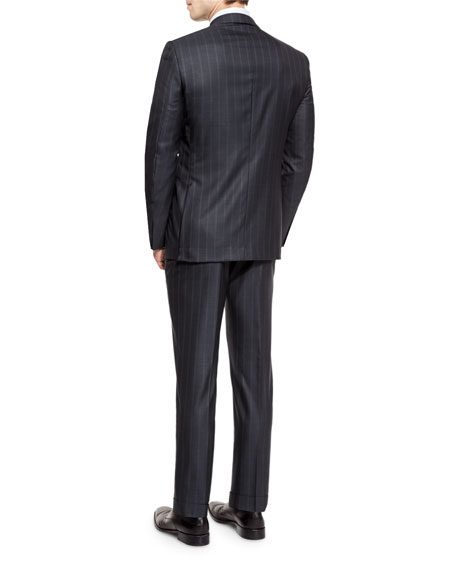 Milano Wool Twin-Stripe Two-Piece Suit, Charcoal