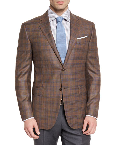 Plaid Wool Two-Button Sport Coat, Cognac