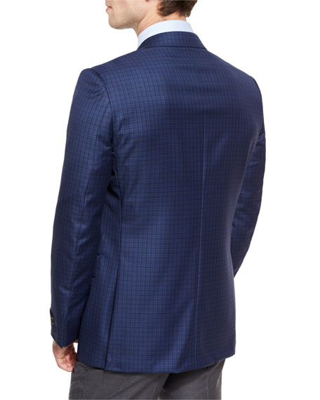 Check Wool Two-Button Sport Coat, Blue