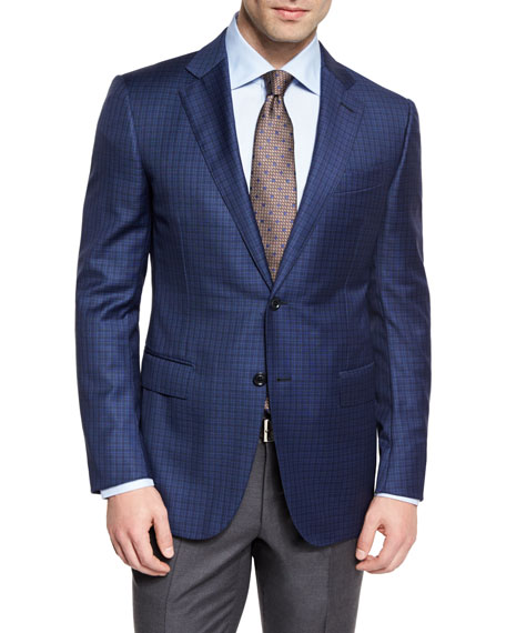 Ermenegildo Zegna Check Wool Two-Button Sport Coat, Blue