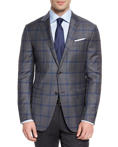 Ermenegildo Zegna Plaid Light Trofeo Wool Two-Button Sport