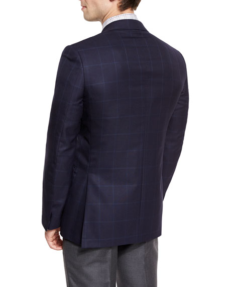 Windowpane-Check Wool Two-Button Sport Coat, Navy