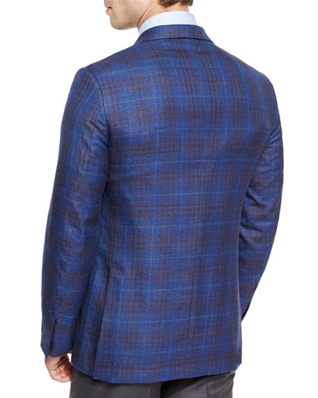Plaid Two-Button Sport Coat, Royal/Brown
