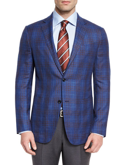Ermenegildo Zegna Plaid Two-Button Sport Coat, Royal/Brown