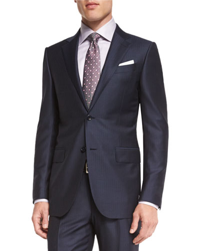 Wool Striped Two-Piece Suit, Navy