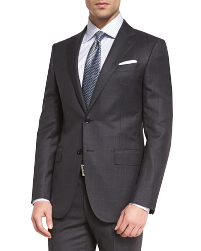 Wool Windowpane Two-Piece Suit, Charcoal