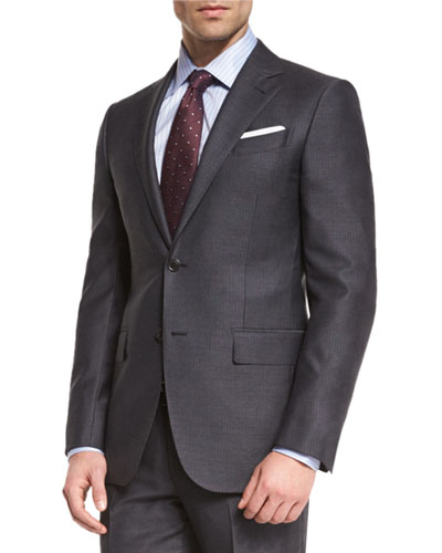 Wool Striped Two-Piece Suit, Charcoal