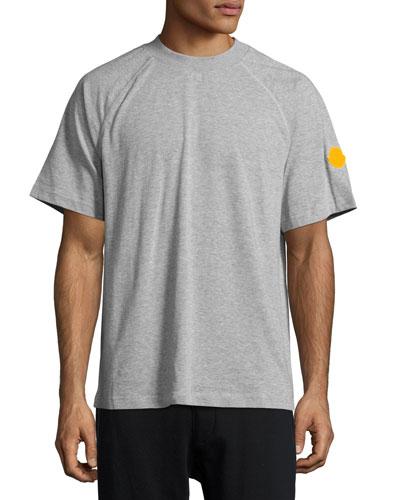 Striped Short-Sleeve Raglan T-Shirt, Gray