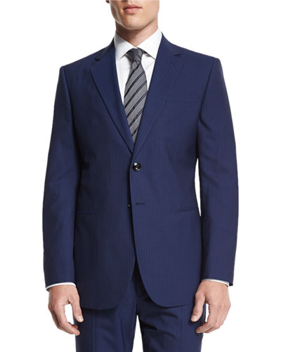 Taylor Striped Two-Piece Wool Suit, Navy