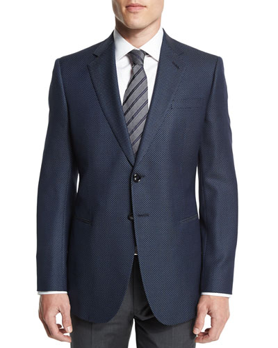 Taylor Exaggerated-Birdseye Wool Sport Coat, Navy