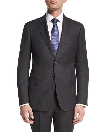 G-Line Birdseye Two-Piece Wool Suit, Charcoal