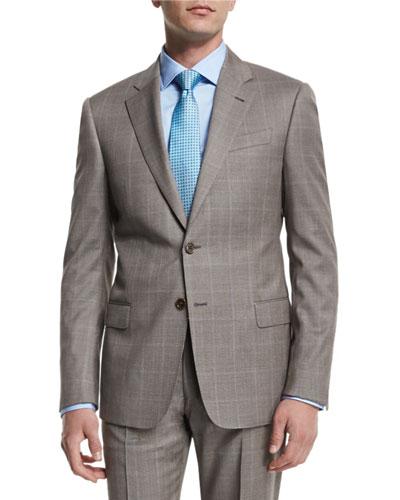 G-Line Windowpane Two-Piece Wool Suit, Tan