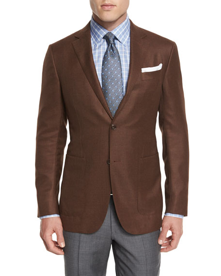 Wool Two-Button Blazer, Rust