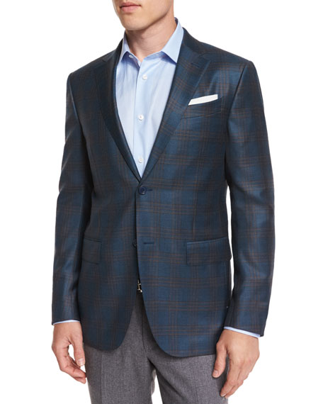 Ermenegildo Zegna Plaid Wool Two-Button Sport Coat, Petrol/Camel