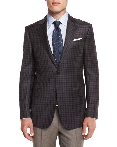 Check Wool Sport Coat, Brown