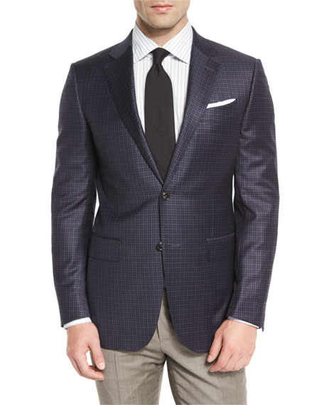 Ermenegildo Zegna Check Two-Button Sport Coat, Navy/Camel