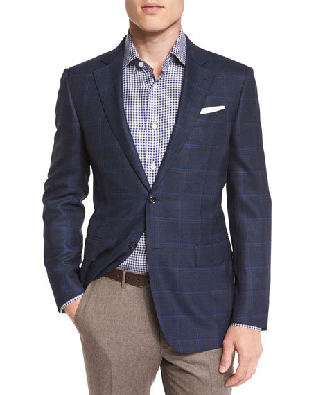 Ermenegildo Zegna Double-Windowpane Check Sport Coat, Navy