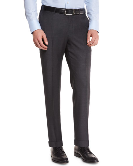 Sharkskin Trofeo Wool Flat-Front Trousers, Charcoal