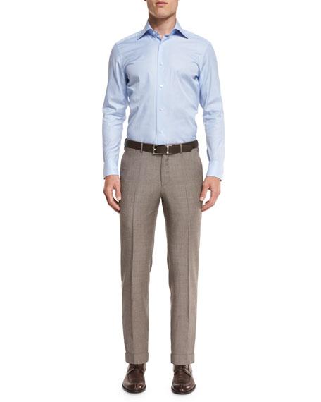 Sharkskin Trofeo Wool Flat-Front Trousers, Tan