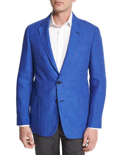 G-Line Two-Button Linen Sport Coat, Blue