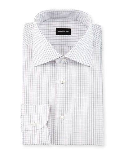 Graph-Check Long-Sleeve Dress Shirt, White