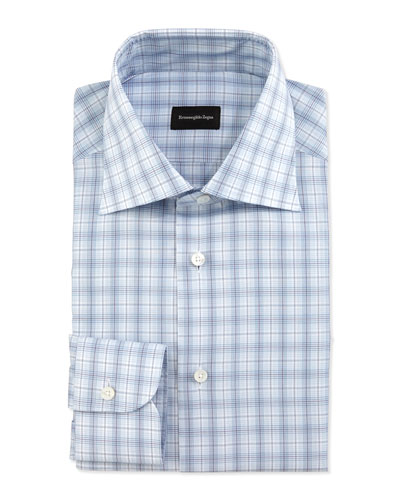 Plaid-Windowpane Long-Sleeve Dress Shirt, Light Blue